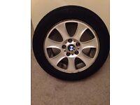 """BMW 1 series 16"""" alloy wheels (3) plus tyres - spare tyre/wheel"""