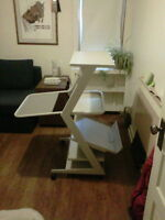 Micro-Shuttle compact computer desk - metal framed on wheels