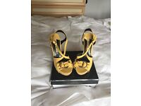 New yellow platform sandals - size 4