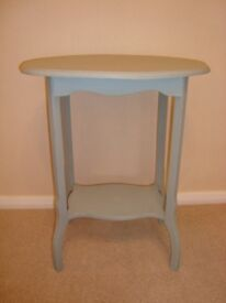 Small Shabby Chic stencilled table in 'Duck Egg Blue and Silver' Annie Sloan