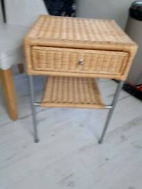 """SMALL WICKER/SILVER FREE STANDING SHELF UNIT WITH ONE DRAWER UNDERNEATH HEIGHT 24"""""""