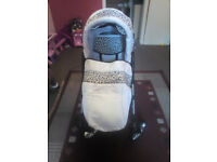 white leopard print 3 in 1 pram car seat and buggy