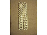NEW in 2 sealed packs ea of 15 white wood curtain rings int measure 45mm.£8 both/30 rings-£5 each.