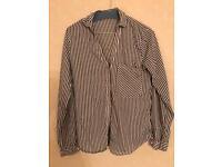 Zara Navy Blue and White Striped Shirt size S
