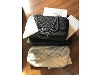 395648cf02056a Chanel Black Caviar Classic Bag, double flap bag with silver hardware, 100%  Authentic