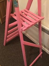 Pink shabby chic vintage ladders hand painted home decor girls room shelves