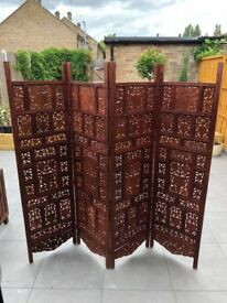 4 Panel Hand Carved Indian Screen, Room Divider