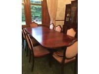 Extending dining table with 8 chairs, and display cabinet