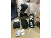 Stokke Xplory v4 pram inc carrycot car seat & isofix base changing bag etc