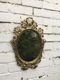 Small gold mirror vintage oval mirror ornate mirror