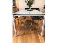 Dining (extendable) table and chairs.