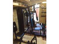 Men's Health 66kg Multi Gym & Vertical Knee Raise and Dip Station & Leg Press Bench