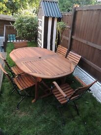 LARGE TABLE AND 6 CAST IRON CHAIRS*** SUN LOUNGER WITH SIDETABLE***Made from Teak Wood