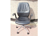 Soho black leather chairs x 2 available (Delivery)
