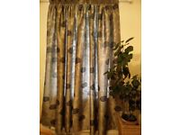 Curtains lined Silver Floral Faux Silk Pencil