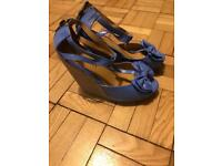 High blue wedges size 4