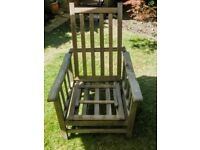 Antique Oak Folding Steamer Chair with foot rest