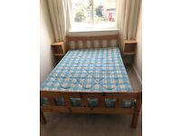 Pine Double Bed Frame and Double Mattress