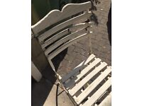 Folding garden table and 2 chairs - in need of renovation