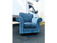 Laura Ashely teal blue scroll crushed velvet chair or castors DELIVERY AVAILABLE