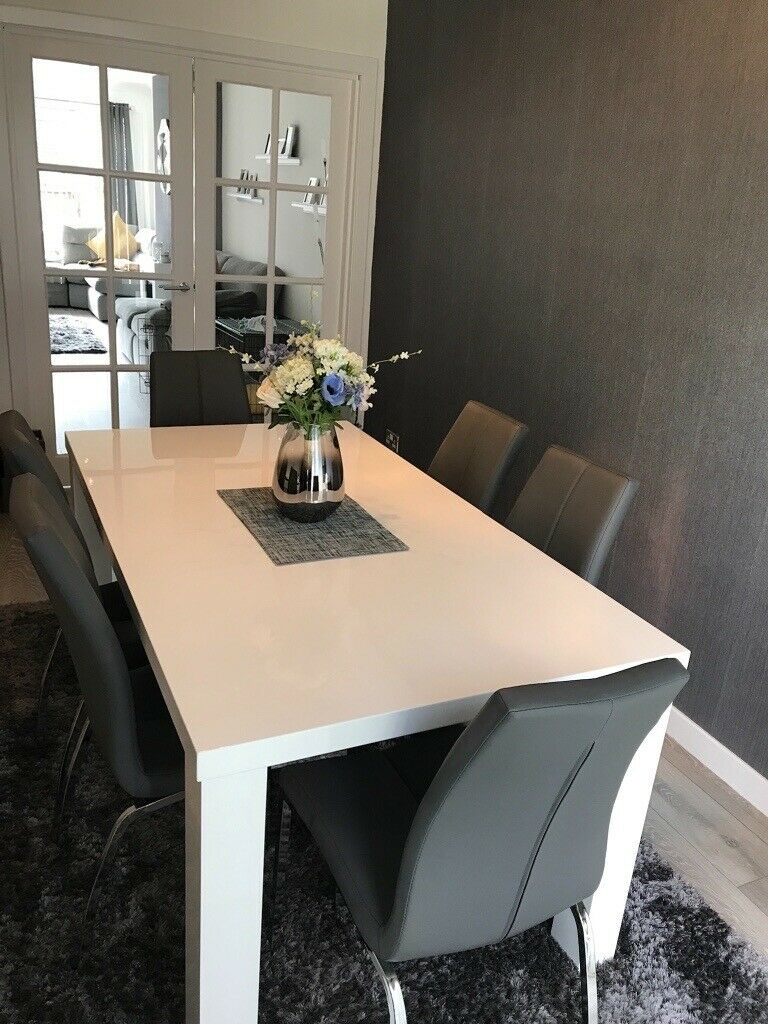 White Gloss Dining Table And Grey Chairs Hamilton