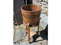 Antique oak tub planter on an oak tripod stand