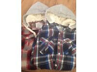 Two men's hooded checked shirts