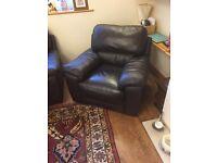 Dark Brown Leather Three Piece Suite