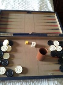 ANTIQUE BACKGAMMON SET - LEATHER WITH IVORY PIECES