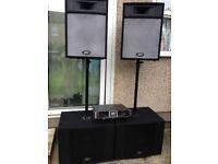 3KW PA System Peavey DJ Equipped: Power Amplifier Peavey CS 3000 + 4 Speakers