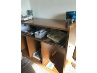 Wooden shelving unit side bureau