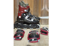 Inline skates / Roller blades, size 5, black & dark red (made by SKAIGHT), as new, used twice.