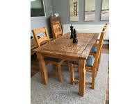 Pine dining table & 4 oak dining chairs