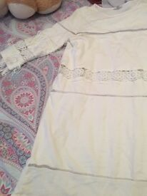 Beautiful white frindged arm dress riverisland size 10 never been worn as seen on Michelle Keegan