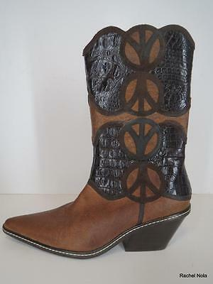 Peace Sign Boots (New Donald Pliner Boots Cowboy $675 Size 6.5 Brown Leather Croc Peace Sign)