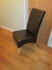 brown leather effect dining chair