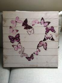Lovely heart butterfly canvas.