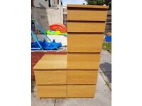 Bedroom set. Ikea malm. 2 Bedside tables, 2 tall drawers, 1 wide drawers.