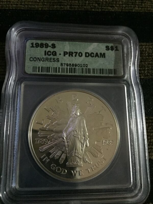 1989-S Congress Silver Commemorative Dollar ICG PR70 DCAM PCGS PRICE GUIDE $425