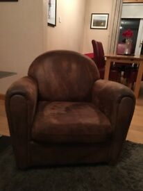Suede/Leather Tub Chair