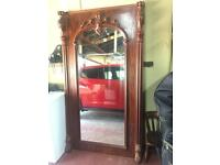 Antique full size wooden frame mirror