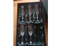 5 x Thomas Webb Chrystal Flute Glasses (Unused)