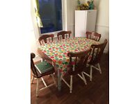 Dining Room Large Table and Chairs, solid wood and good quality table, distressed look, shabby chic.
