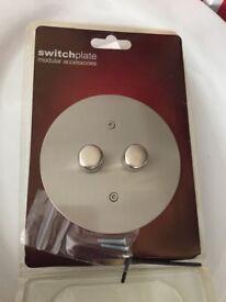 Light switch, scratch chrome modern 1 x 2 gang 13amp switch. Single pole 2way. New. Pick up Plymouth