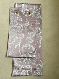 2 pairs of NEXT mauve curtains with silver pattern and 2 extendable brushed silver curtain poles