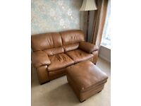 Leather 2 seater sofa and footstool good quality
