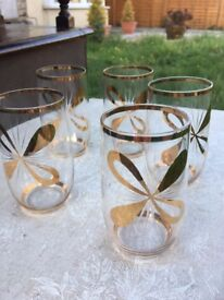 Set of 5 delicate vintage glasses with gold detail