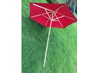 RED GARDEN PARASOL, LIKE NEW