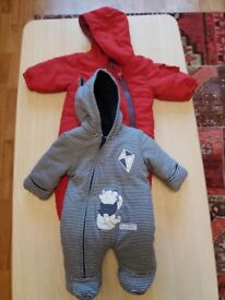 2 baby hooded coveralls for Boys 0-3 months