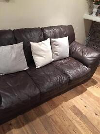 Chocolate brown leather 3 seater and 2 seater